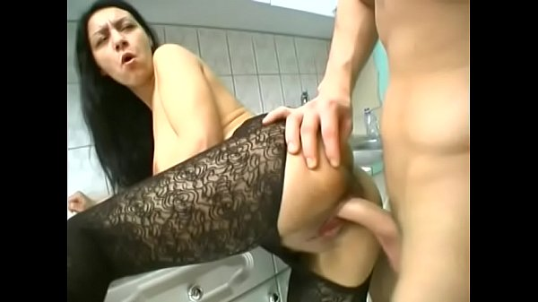 Squirter in stockings gets hard fuck on the floor