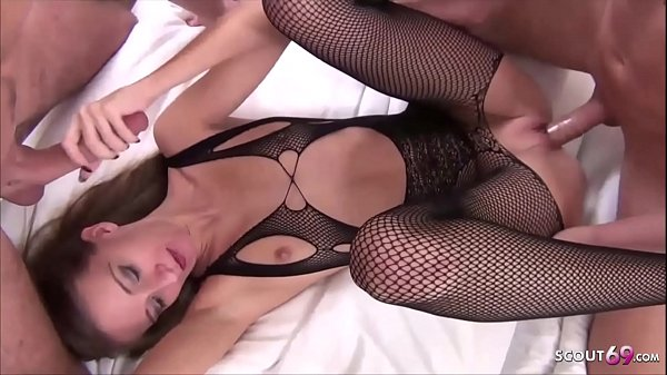 Skinny German Teen SexyRia Anal and DP 3some in Fishnet Body Thumb