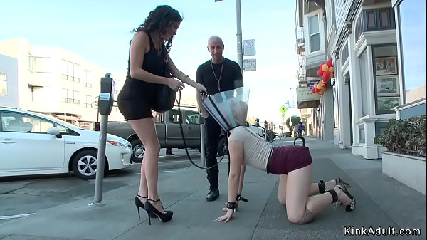 Butt plugged blonde walked in public