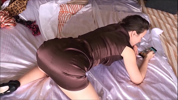 T&A 654 - Pounded in my Satin Brown Dress, Black & Gold Thong - 01 Thumb