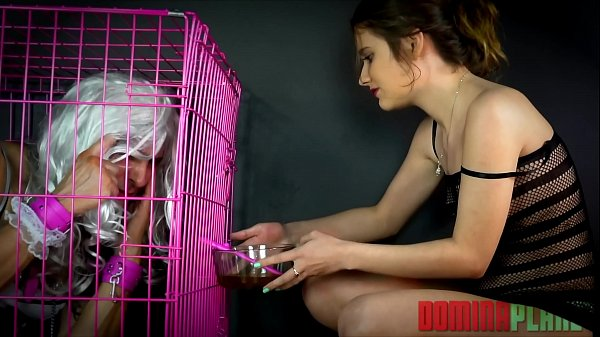 Sissy Toilet Dinner Part II - Sissy slave is to live in a cage by his cruel young Mistress and starved of food until he agrees to d. Her golden piss and eat food She has shoved deeply up Her beautiful ass!