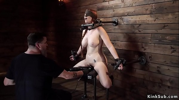 Huge tits slave gets fucked with dildo
