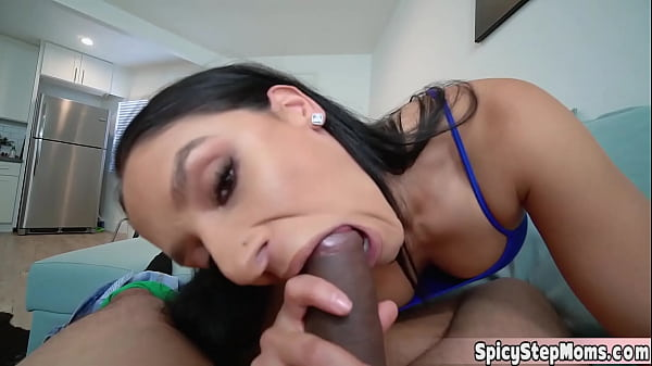 The new busty brunette stepmom Sheena promised to treat stepsons morning wood