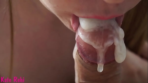 Blowjob close-up. Creampie in mouth. Thumb