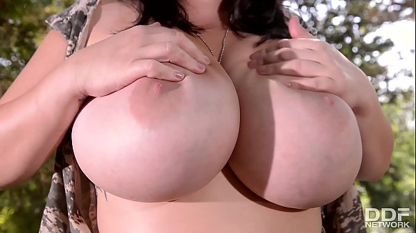 Leanne Crow plays with her Monster Juggs in Com...