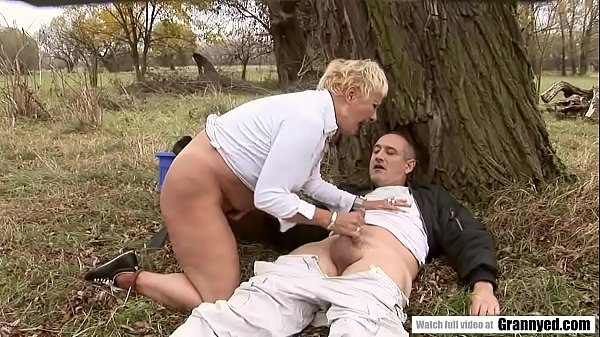 Blonde Mature Finds An Upset Man In The Woods Thumb