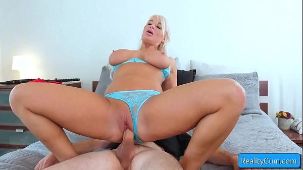 Sexy big tit blonde milf London River get her pussy hammered by massive cock and suck it good