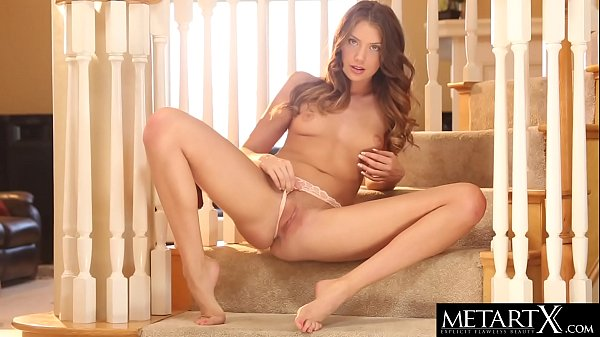 Stunning girl in sexy lingerie masturbates to a...