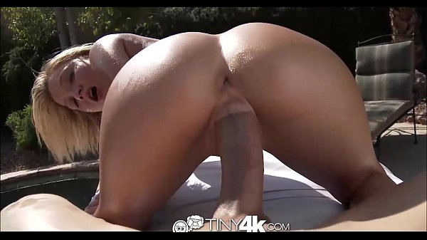 Tiny4K Blonde girl spreads pussy for huge cock by pool