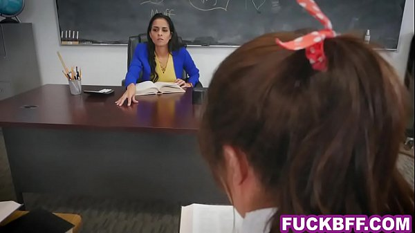 Schoolgirl teens lesbian detention with the tea...