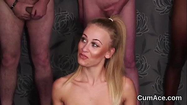 Kinky hottie gets cumshot on her face swallowing all the ejaculate  thumbnail