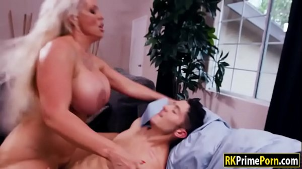 Fiery blonde woman tit fucked and plowed