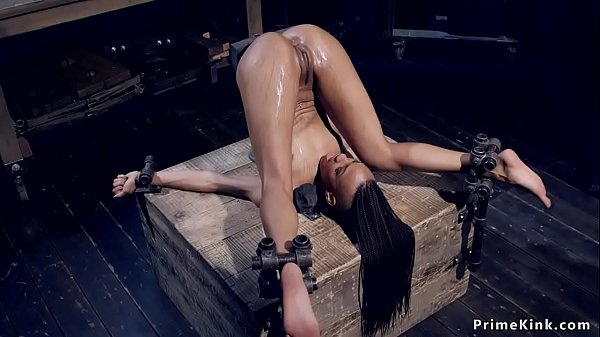 Ebony slave squirting on own face