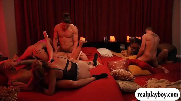 Horny swingers swap partner and orgy in the red...
