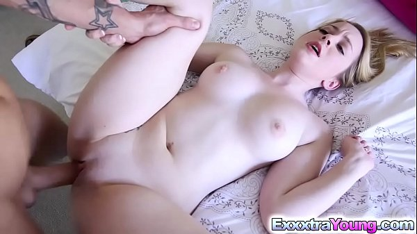 Tiny Blonde Alexia Gold bangs with stepsis bf
