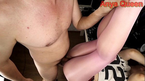 Young schoolgirl in pantyhose with a hole teases her ass and gets a big dick in her pussy ... cum on nylon is so sexy - Anya Queen Thumb