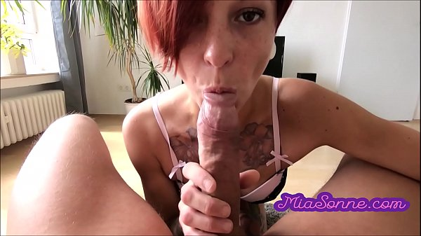 The first deep throat in front of the camera of the pretty redhead