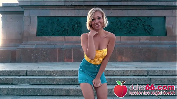 NATURAL TITS bouncing! Blonde TEEN Gabi Gold fucked by a Stranger in PUBLIC! Dates66.com