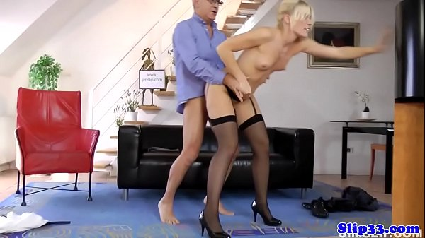Doggystyled euro babe loving old mans cock