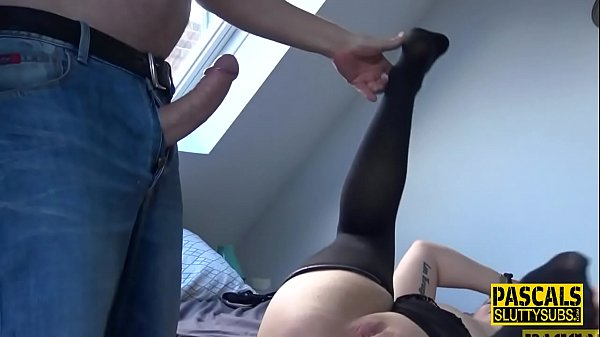 Chubby sub in stockings gets mouth fucked