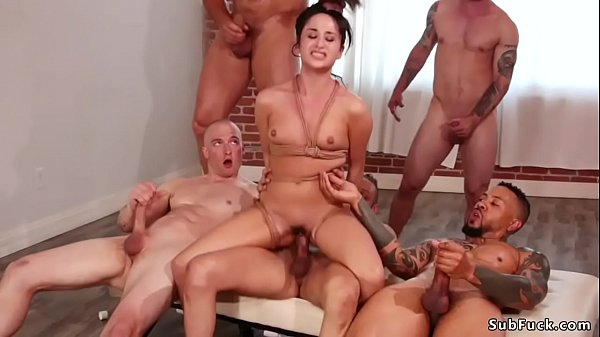 Gangbang and anal fucking in bdsm orgy Thumb