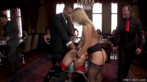 Slaves rough fucked at brunch party
