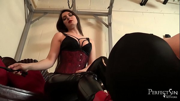 Worship Your Mistress - Ria Harpsichord allows slave lick her shiny boots Thumb