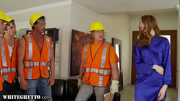 WhiteGhetto Horny Housewife Gangbanged by Construction Workers Thumb
