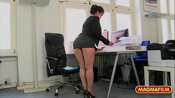 Short skirt secretary loves to be a slut at work