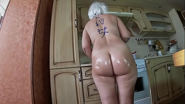 Naked mom knelt down and gave a blowjob to her stepson. Anal