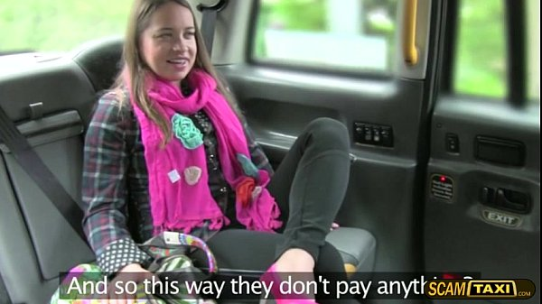 Brunette lady tries cowgirl position inside the taxi Thumb