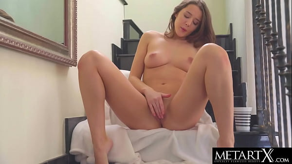 Beautiful brunette squeezes her perfect tits as she masturbates