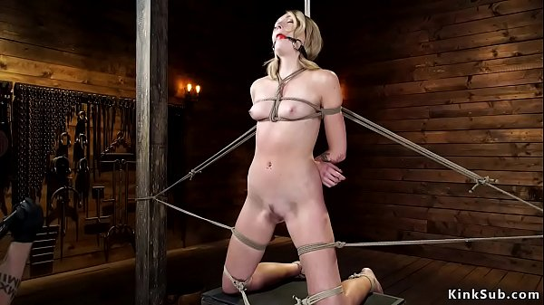 Brunette slave gets toyed and whipped