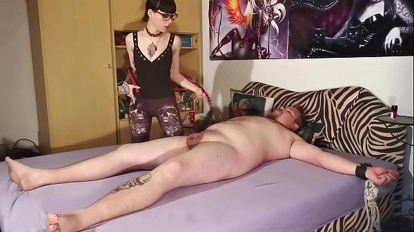 Goth domina biting her tied out slave body & cock pt2 HD Thumb