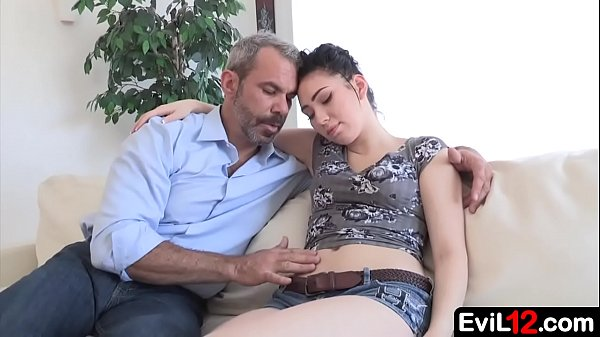 Pale young beauty stepdaughter has sex with her...