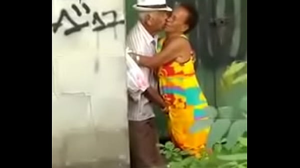 Old mature couple caught