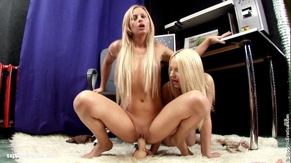 Hot blondes Larissa and Ingrid play with a huge toy on Sapphic Erotica