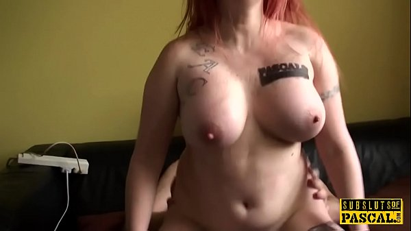 Redhead UK sub with big tits riding dick