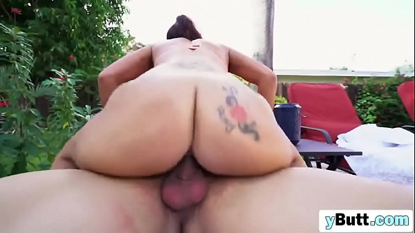 Slutty chick with big ass riding cock outdoors