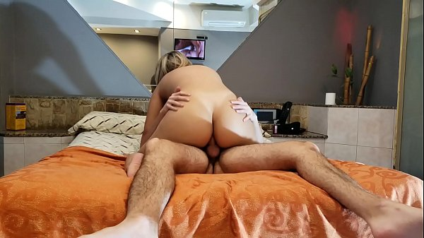 Stepmother finds her son watching porn and fucks him anally (Creampie) a