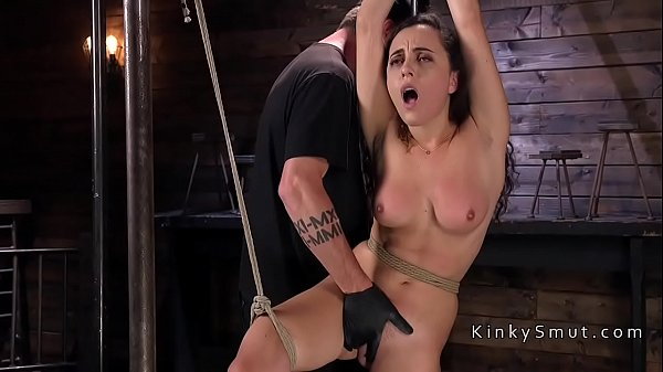 Hogtied and suspended babe fingered