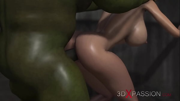 3dxpassion.com. Horny hot blonde gets fucked hard by a green monster in the sewer