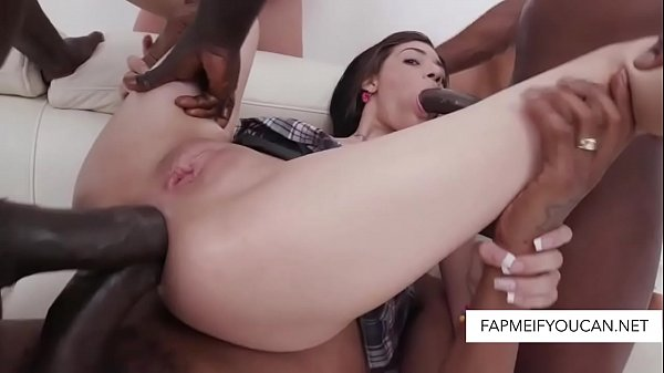 Teen girl in a double anal gangbang with huge black cocks