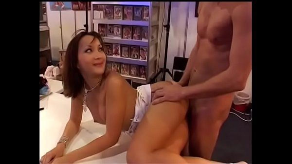 Asian pornstar with perky nipples takes an anal ride in the bookshop