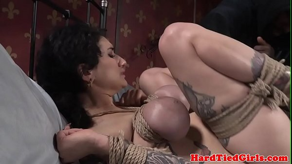 Inked bdsm sub tied up and slapped by maledom