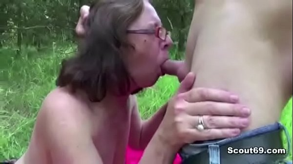68yr old Granny Seduce to Fuck anal Outdoor by Stranger Boy
