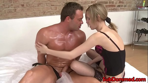 Euro femdom sits on restrained subs face