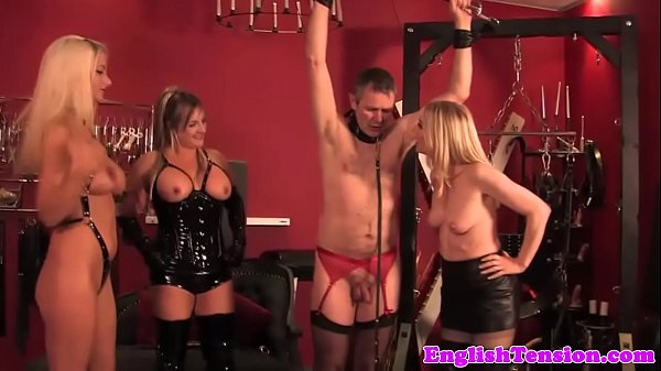 Flogging british femdoms in latex lingerie
