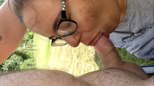 Lesbian in glasses sucks cock first time