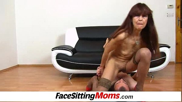 A guy is eating old hairy pussy of skinny grann...